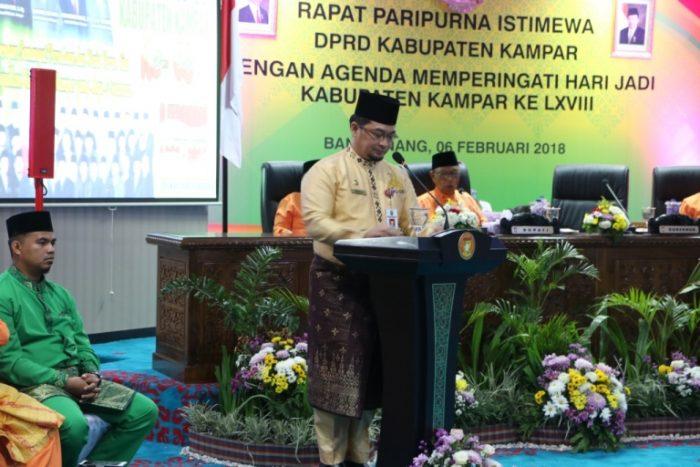 gubernur Riau diwakili Kepala BPKAD Riau Syahrial Abdi menyampaikan sambutan